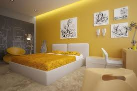 ... Unique Yellow Bedroom Interior Design With Lamp White Modern Bedroom  Paint Colors ...