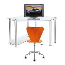 view a larger image of rta glass corner computer desk clear glass ct