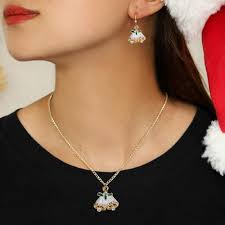 Bell S Trim And Design 3 Pcs Womens Necklace Earrings Bells Design Ladylike
