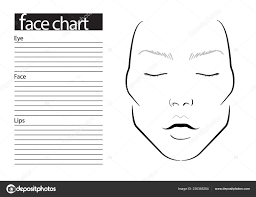 face chart makeup artist blank template ilration asian stock photo