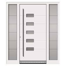 white aluminium front door with glass inset
