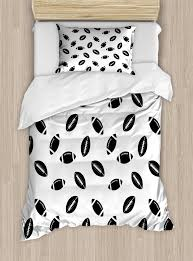 american football duvet cover set monochrome pattern with black rugby american culture sports play decorative bedding set with pillow shams