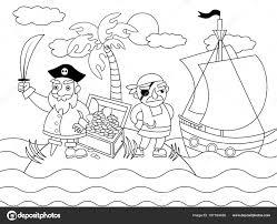 Cartoon Piraten Kleurplaat Vectorillustratie Stockvector