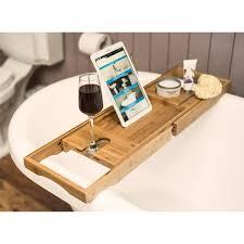 Bath Tray Bamboo Wooden Over Bath Tray Caddy Rack Shelf Tablet Phone