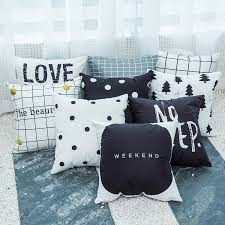 <b>45*45cm Nordic Cushion Cover</b> Black White Geometric House ...