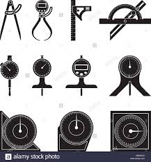 Type of measuring tools Micrometer Set Of Various Types Of Measuring Tools Flat Vector Set Of Various Types Of Measuring Tools Flat Vector Stock Vector