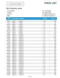Price List Template 24 FREE Price List Templates Price Sheet Templates Template Lab 1