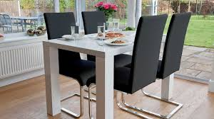 modern cantilever dining chairs and white gloss dining table