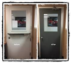 new hollow metal door metal vision kit 1 4 clear safety glass and continuous hinge supplied and installed by