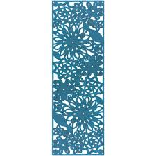 cleome bright blue 3 ft x 8 ft indoor outdoor runner rug