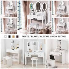 item 5 mecor wood vanity makeup dressing table set w stool jewelry drawer mirror desk mecor wood vanity makeup dressing table set w stool jewelry drawer