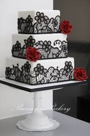 Square Wedding Cakes Black Red And White Wedding Cake Kind Of