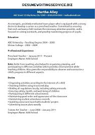 Preschool Teacher Resume Sample – Districte15.info