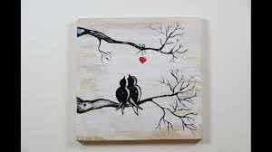 diy winter view of love birds how to paint on the wood love birds winter view you