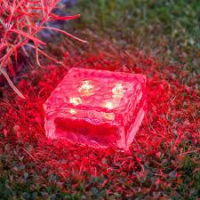 Red Solar Pathway Lights Solar Brick Ice Cube Path Light Crystal Garden Lamp Red 4