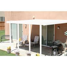 Aluminum patio covers home depot Set White Aluminum Attached Solid Patio Cover With Posts 20 Lbs Live Load Home Depot Integra 14 Ft 12 Ft White Aluminum Attached Solid Patio Cover