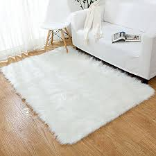 ojia deluxe soft modern faux sheepskin gy area rugs children play carpet for living bedroom sofa 3ft x 5ft ivory white