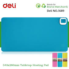 deli no 3689 leather electric heating mouse pad heated office writing desktop mat hand warmer