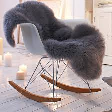 gy faux fur gray animal pelt chair throw covers on 36 00