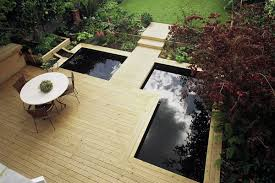 Small Picture modern water garden design Contemporary Softwood Deck Modern