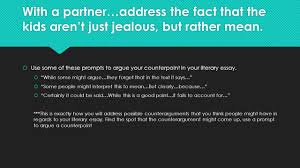 the literary essay argument ppt   a partner address the fact that the kids aren t just jealous