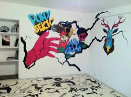 Customize Architecture Wall Paint Art Ideas Interiors Skull Skeleton Themed  Scary Pop Up Cracked Fearsome