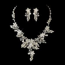 Glamorous Pearl Rhinestone Floral Bridal Jewelry Sets Elegant