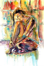 waiting for you paintings impressionism people watercolor by kovacs anna brigitta