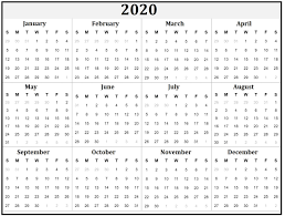 Yearly Calendar 2020 On We Heart It