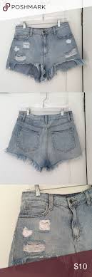 Forever 21 Distressed Denim Shorts Light Blue Distressed