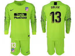 19 Long Sleeves Jersey Goalkeeper Madrid Fluorescent Green Shirt 2018 Oblak Atletico 13