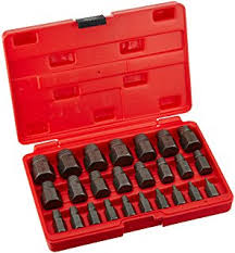 bolt extractor kit. neiko 04204a hex head multi-spline screw and bolt extractor set | 25-piece kit k