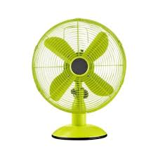 lime green oscillating metal desk fan
