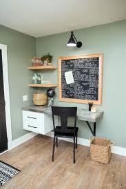 home office wall shelves. Office Nook With Wall Mounted Table And Unfinished Wood Shelves - Nook, Small Home C