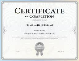 Certificate Of Completion Sample Text Template For