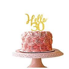 Amazoncom Hello 30 Gold Acrylic Cake Topper 30th Birthday Party
