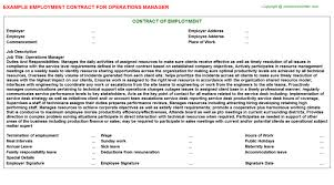 Operations Manager Employment Contract | Agreements & Contracts ...