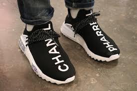 chanel x pharrell adidas. an on-feet look at the chanel x adidas originals pharrell williams hu nmd i