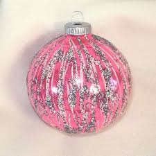 Glittered Vivid Pink and Blue Glass Christmas Ornaments