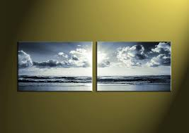 2 piece black and white canvas ocean sunset wall art