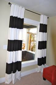 decorations amusing home interior with black white stripped curtain and cream wall paint also red