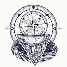 Fototapeta Kompas A Horské Tetování A Tričko Design Tetování Pro Cestovatele