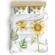 4 Pcs Bedding Set - Alluring Sunflowers Summer Inspired Design Agriculture Duvet Cover Set Ultra Soft and Easy Care Sheet Quilt Sets with Decorative ...