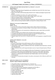 Operations Project Analyst Resume Samples | Velvet Jobs