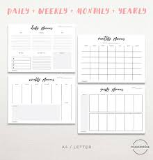 planners weekly monthly minimalist simple daily weekly monthly yearly desktop diy