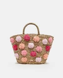 Pom Pom Purse Designer Pom Pom Detail Woven Bag Natural Bags Ted Baker