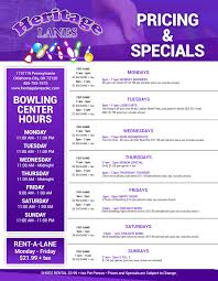join herie lanes for great specials everyday