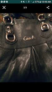 authentic black leather coach purse purple satin inside high quality beautiful good condition