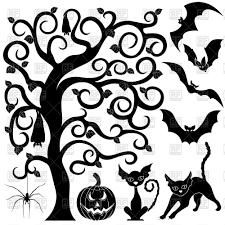 Halloween Black Silhouettes Set Of Bats Cats Pumpkin And Spider