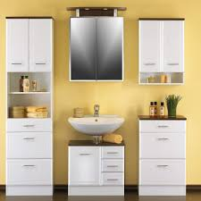 Badezimmerschrank Nina in Hochglanz Weiß mit drei Schubladen
